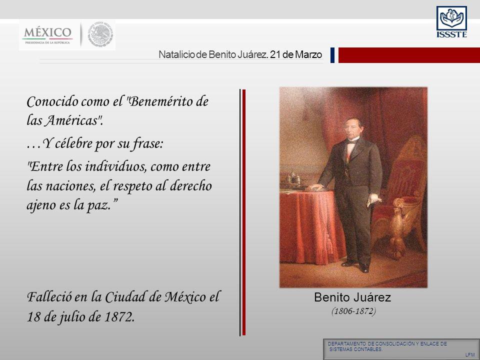 Natalicio de Benito Juárez. 21 de Marzo Conocido como el