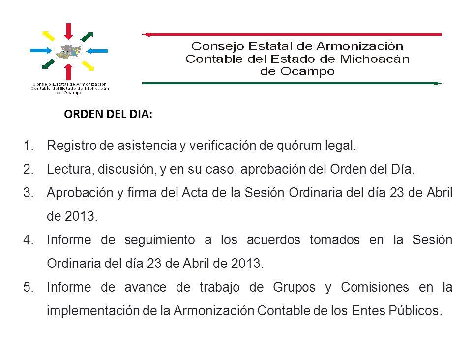 ORDEN DEL DIA: 1.Registro de asistencia y verificación de quórum legal. 2.Lectura, discusión, y en su caso, aprobación del Orden del Día. 3.Aprobación