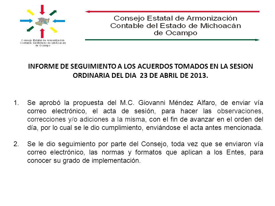 INFORME DE SEGUIMIENTO A LOS ACUERDOS TOMADOS EN LA SESION ORDINARIA DEL DIA 23 DE ABRIL DE 2013. 1.Se aprobó la propuesta del M.C. Giovanni Méndez Al