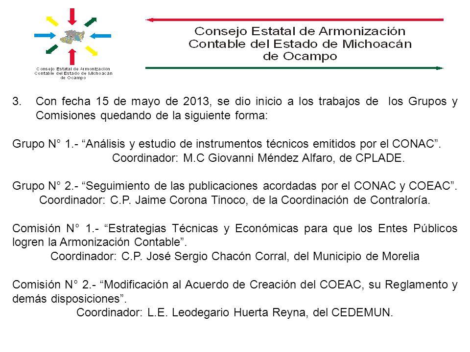3.Con fecha 15 de mayo de 2013, se dio inicio a los trabajos de los Grupos y Comisiones quedando de la siguiente forma: Grupo N° 1.- Análisis y estudi