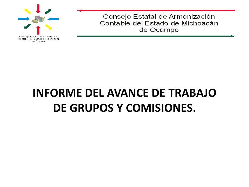 INFORME DEL AVANCE DE TRABAJO DE GRUPOS Y COMISIONES.