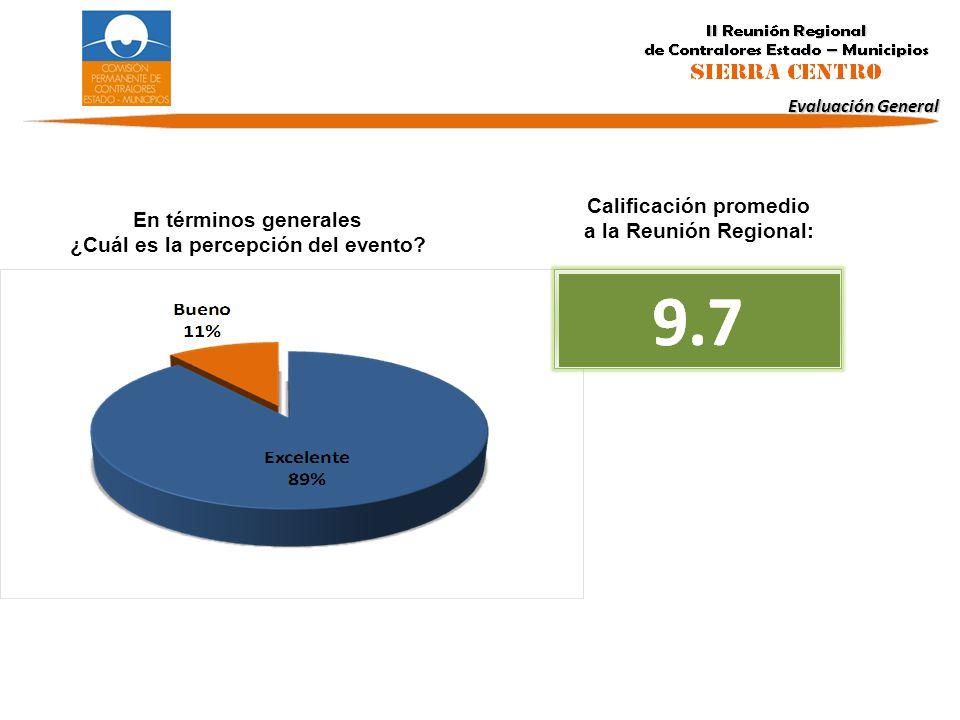 En términos generales ¿Cuál es la percepción del evento? Calificación promedio a la Reunión Regional: