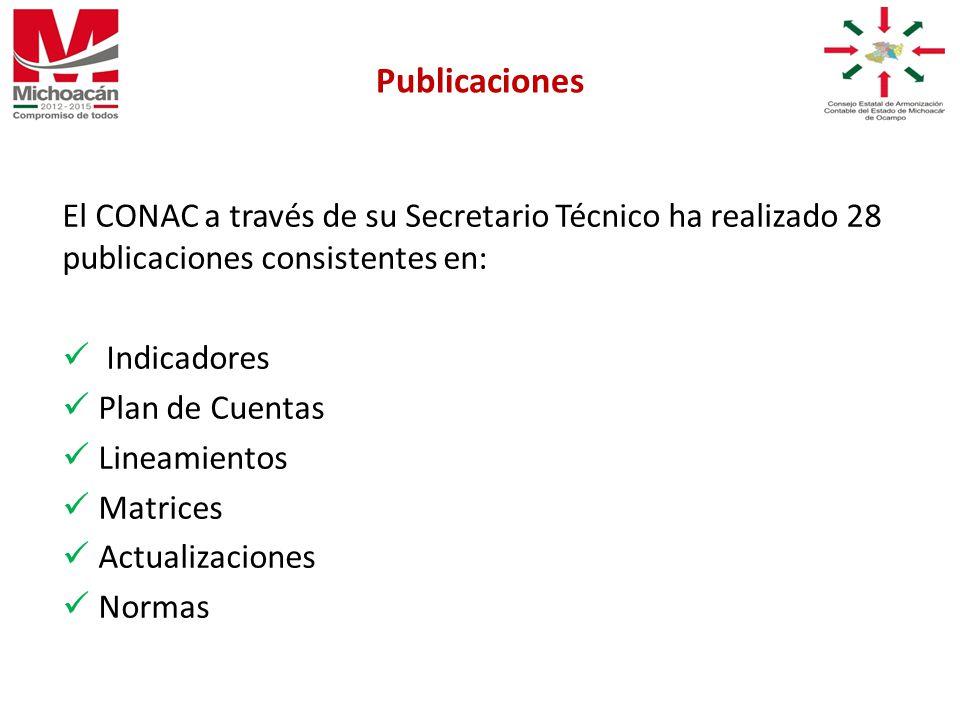 El CONAC a través de su Secretario Técnico ha realizado 28 publicaciones consistentes en: Indicadores Plan de Cuentas Lineamientos Matrices Actualizaciones Normas Publicaciones