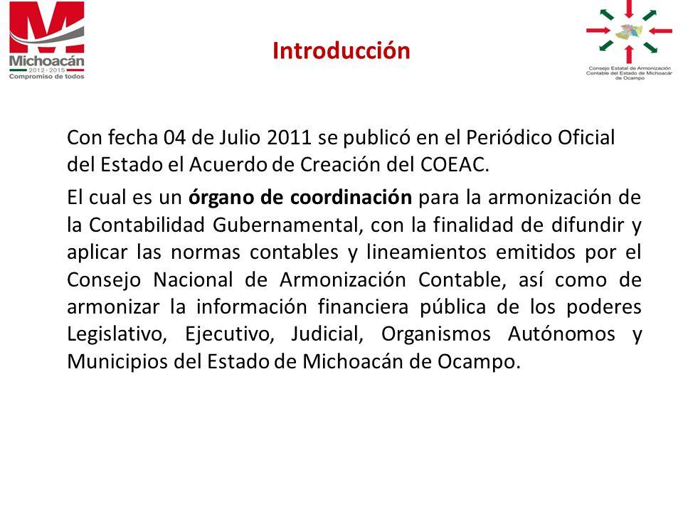 Con fecha 04 de Julio 2011 se publicó en el Periódico Oficial del Estado el Acuerdo de Creación del COEAC.
