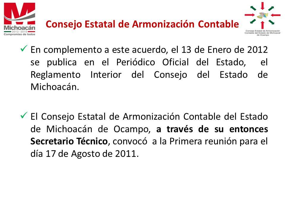 En complemento a este acuerdo, el 13 de Enero de 2012 se publica en el Periódico Oficial del Estado, el Reglamento Interior del Consejo del Estado de Michoacán.