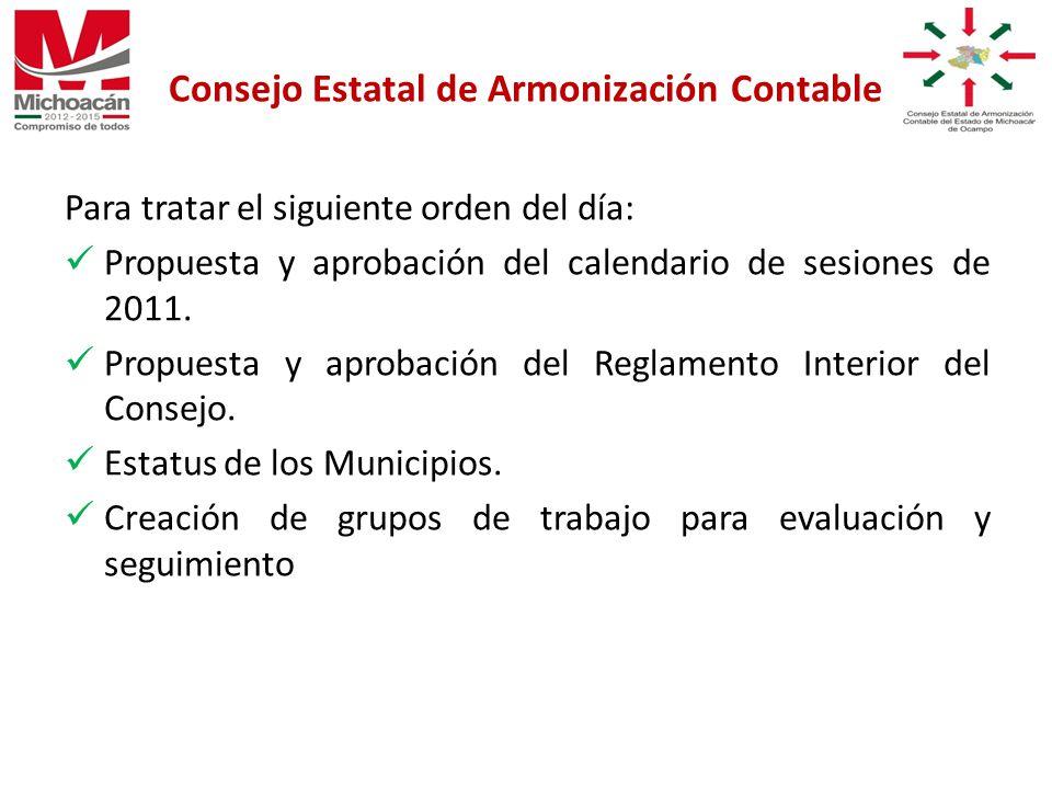Para tratar el siguiente orden del día: Propuesta y aprobación del calendario de sesiones de 2011.