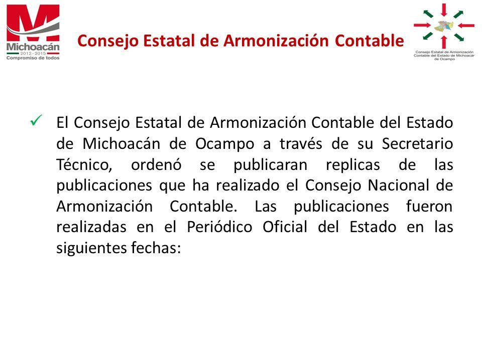 El Consejo Estatal de Armonización Contable del Estado de Michoacán de Ocampo a través de su Secretario Técnico, ordenó se publicaran replicas de las publicaciones que ha realizado el Consejo Nacional de Armonización Contable.