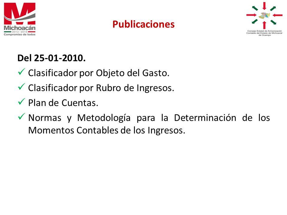 Del 25-01-2010. Clasificador por Objeto del Gasto.