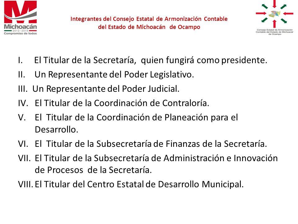 I. El Titular de la Secretaría, quien fungirá como presidente.