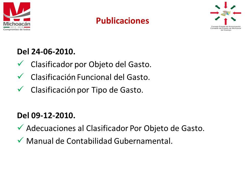 Del 24-06-2010. Clasificador por Objeto del Gasto.