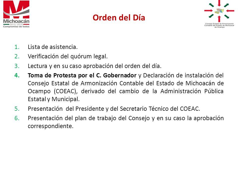 1.Lista de asistencia. 2.Verificación del quórum legal.