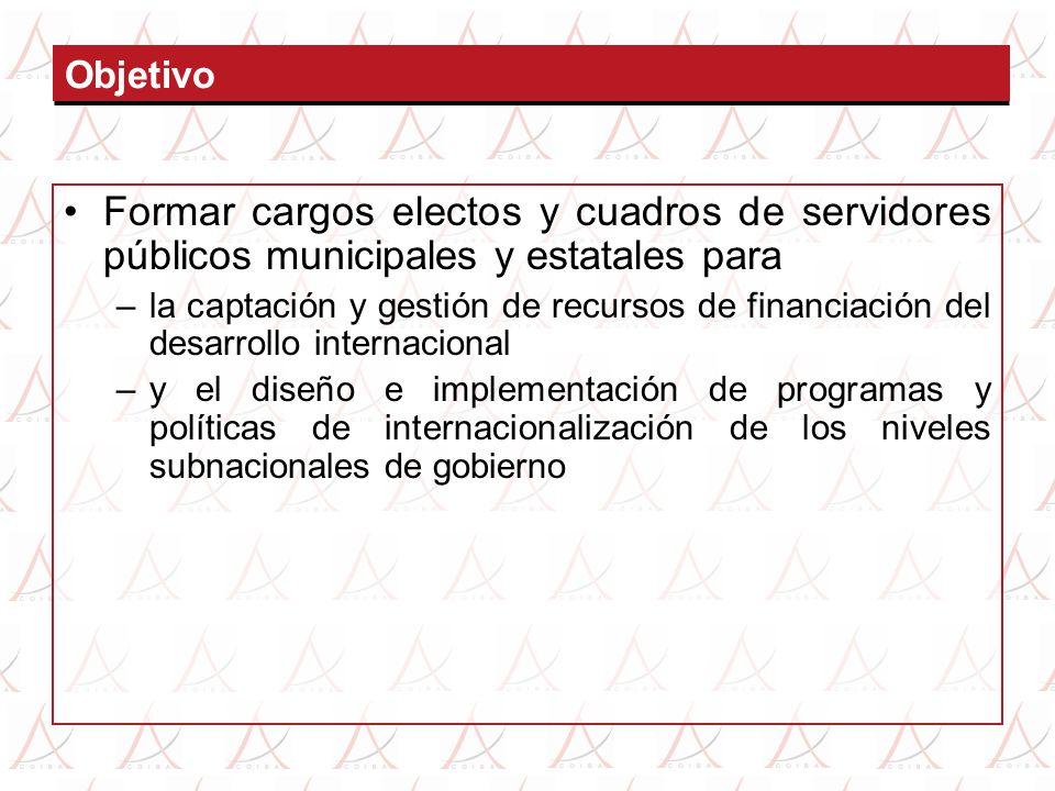 Objetivo Formar cargos electos y cuadros de servidores públicos municipales y estatales para –la captación y gestión de recursos de financiación del d
