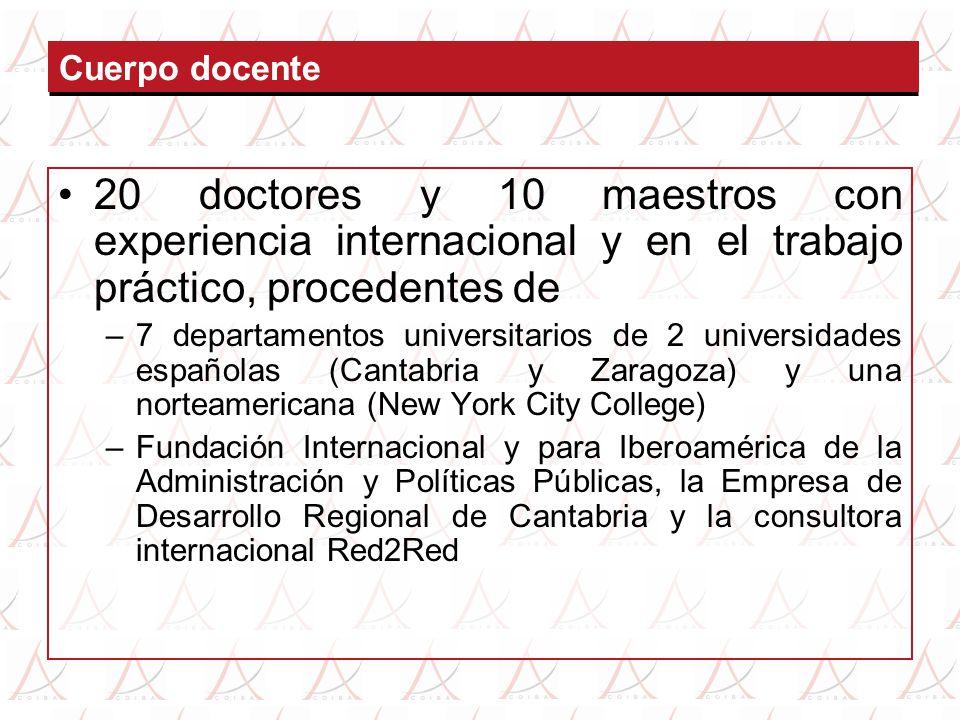 Cuerpo docente 20 doctores y 10 maestros con experiencia internacional y en el trabajo práctico, procedentes de –7 departamentos universitarios de 2 u