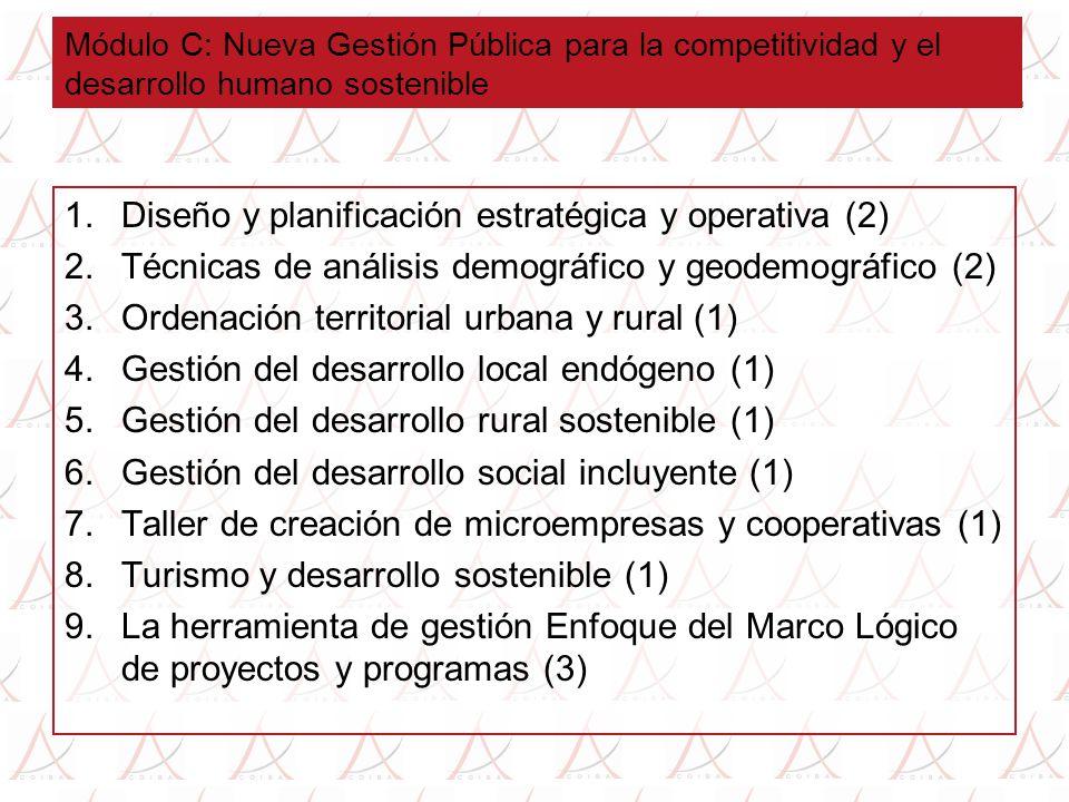 Módulo C: Nueva Gestión Pública para la competitividad y el desarrollo humano sostenible 1.Diseño y planificación estratégica y operativa (2) 2.Técnicas de análisis demográfico y geodemográfico (2) 3.Ordenación territorial urbana y rural (1) 4.