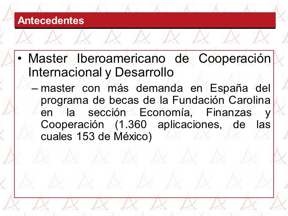 Master Iberoamericano de Cooperación Internacional y Desarrollo –master con más demanda en España del programa de becas de la Fundación Carolina en la sección Economía, Finanzas y Cooperación (1.360 aplicaciones, de las cuales 153 de México)