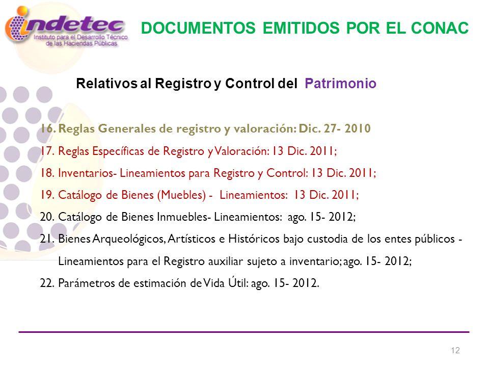 DOCUMENTOS EMITIDOS POR EL CONAC 16.Reglas Generales de registro y valoración: Dic.