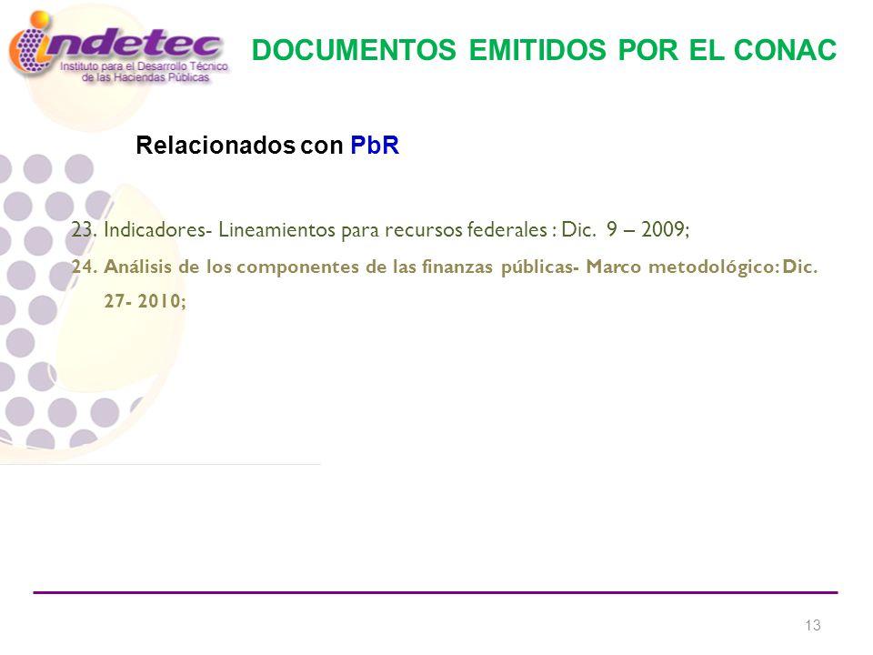 DOCUMENTOS EMITIDOS POR EL CONAC 23.Indicadores- Lineamientos para recursos federales : Dic.