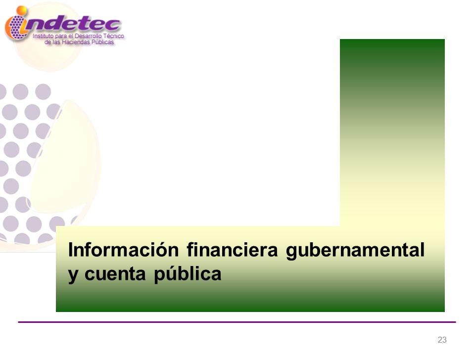 23 Información financiera gubernamental y cuenta pública