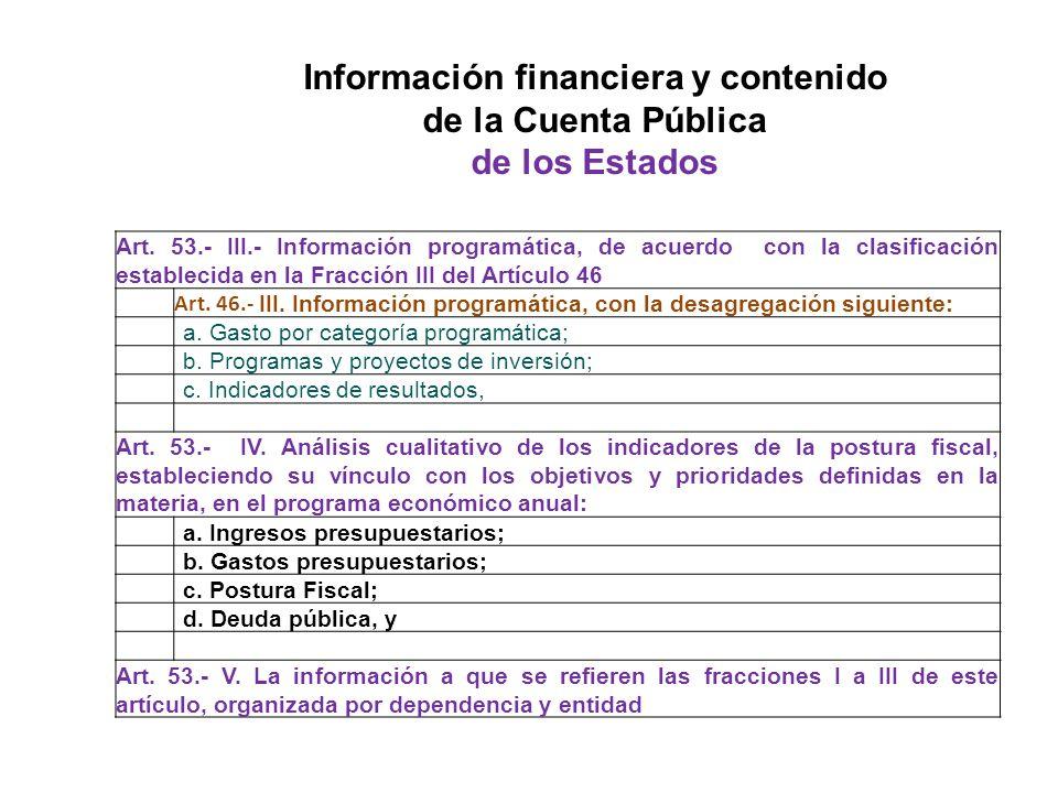 Art. 53.- III.- Información programática, de acuerdo con la clasificación establecida en la Fracción III del Artículo 46 Art. 46.- III. Información pr