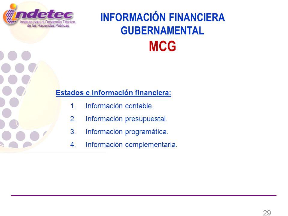 29 Estados e información financiera: 1. Información contable.