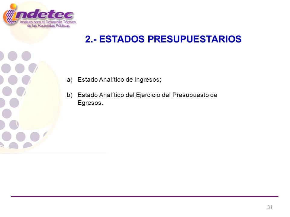 2.- ESTADOS PRESUPUESTARIOS a)Estado Analítico de Ingresos; b)Estado Analítico del Ejercicio del Presupuesto de Egresos.