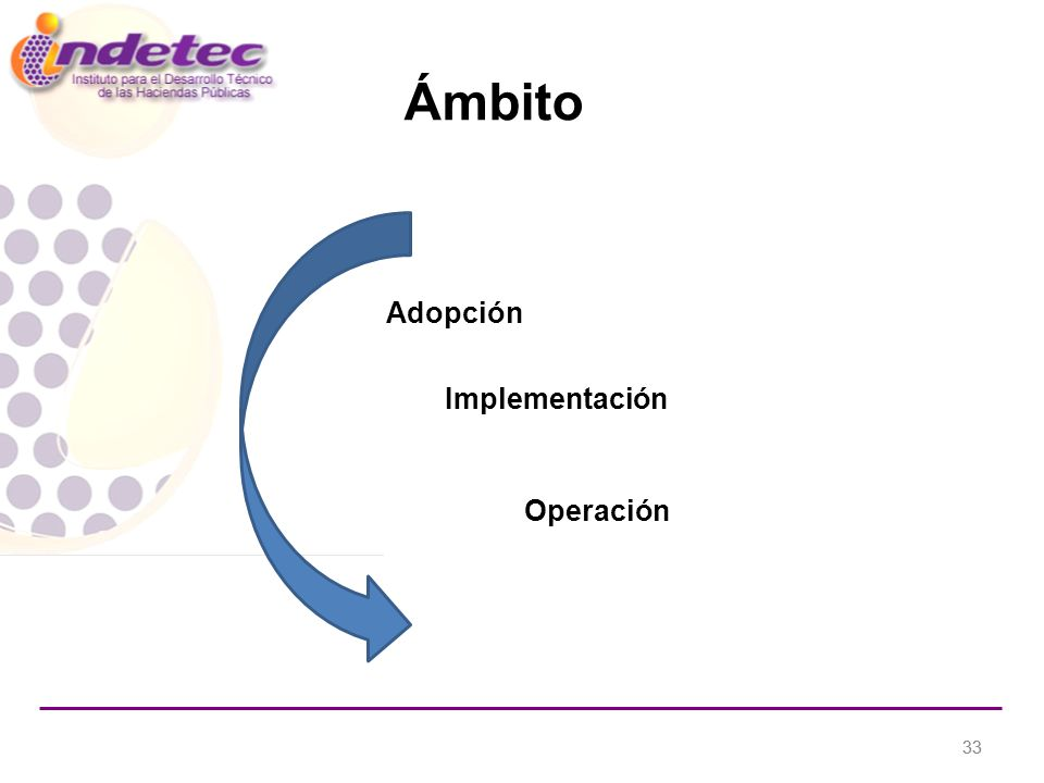 33 Ámbito Adopción Operación Implementación
