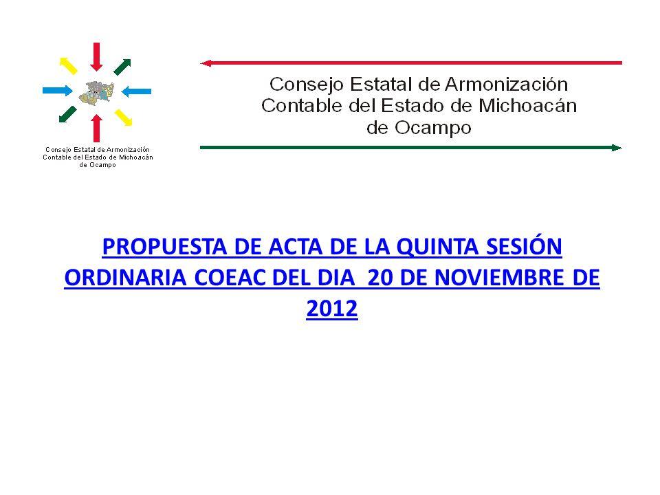 PROPUESTA DE ACTA DE LA QUINTA SESIÓN ORDINARIA COEAC DEL DIA 20 DE NOVIEMBRE DE 2012