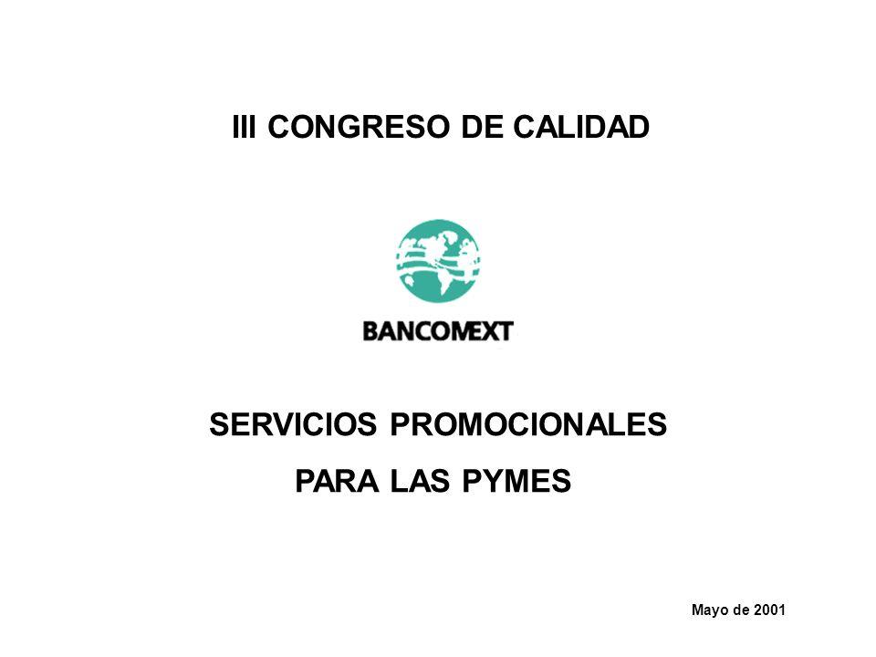 Mayo de 2001 III CONGRESO DE CALIDAD SERVICIOS PROMOCIONALES PARA LAS PYMES
