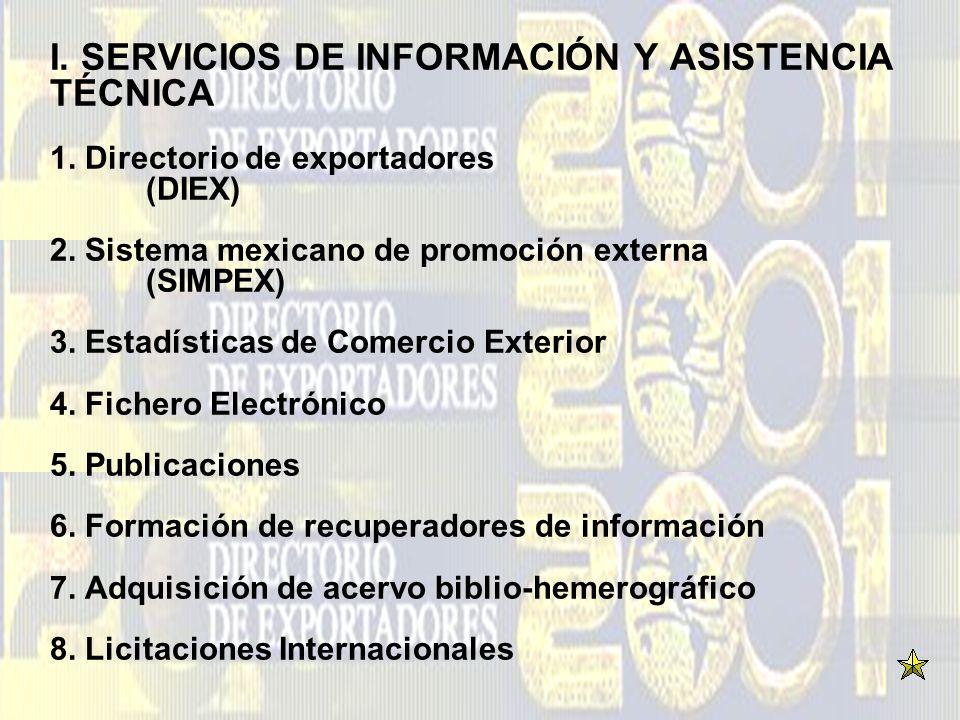 I. SERVICIOS DE INFORMACIÓN Y ASISTENCIA TÉCNICA 1. Directorio de exportadores (DIEX) 2. Sistema mexicano de promoción externa (SIMPEX) 3. Estadística