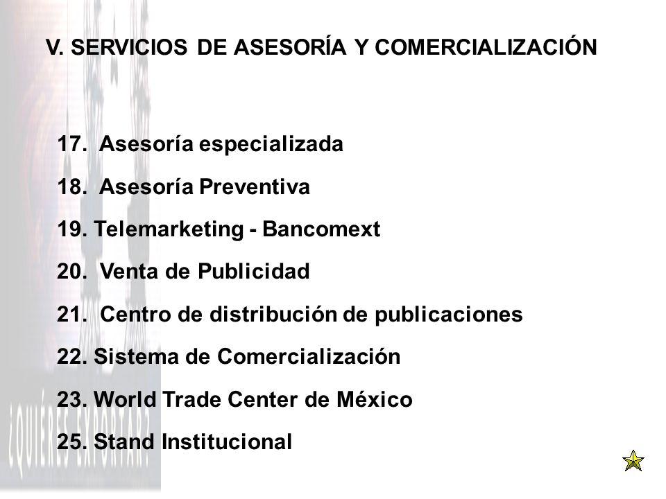 V. SERVICIOS DE ASESORÍA Y COMERCIALIZACIÓN 17. Asesoría especializada 18. Asesoría Preventiva 19. Telemarketing - Bancomext 20. Venta de Publicidad 2