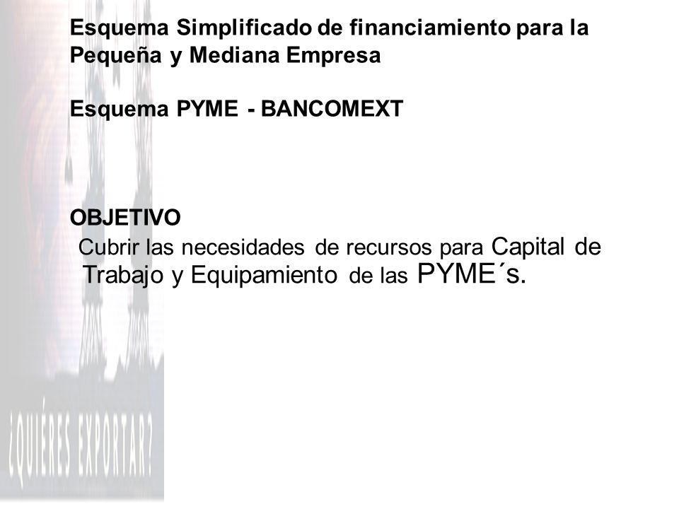 ESQUEMA PYME - BANCOMEXT Apoyo financiero hasta por USD 250 mil para pequeños y medianos exportadores directos e indirectos para: l Cubrir necesidades de capital de trabajo de ciclo productivo y ventas de exportación.