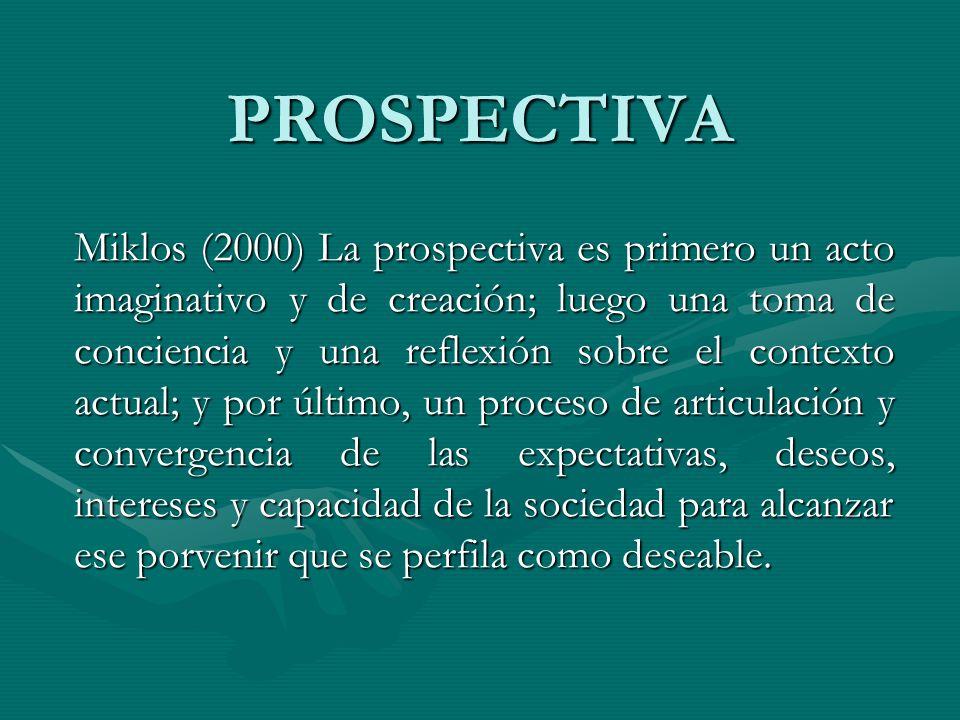 PROSPECTIVA Miklos (2000) La prospectiva es primero un acto imaginativo y de creación; luego una toma de conciencia y una reflexión sobre el contexto
