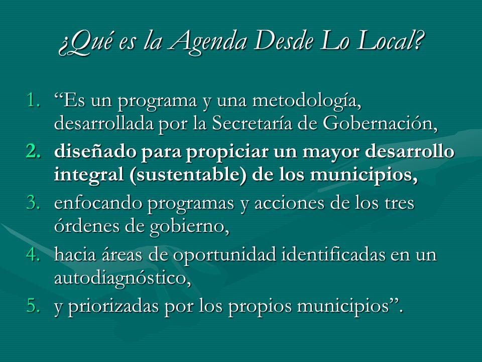 ¿Qué es la Agenda Desde Lo Local? 1.Es un programa y una metodología, desarrollada por la Secretaría de Gobernación, 2.diseñado para propiciar un mayo