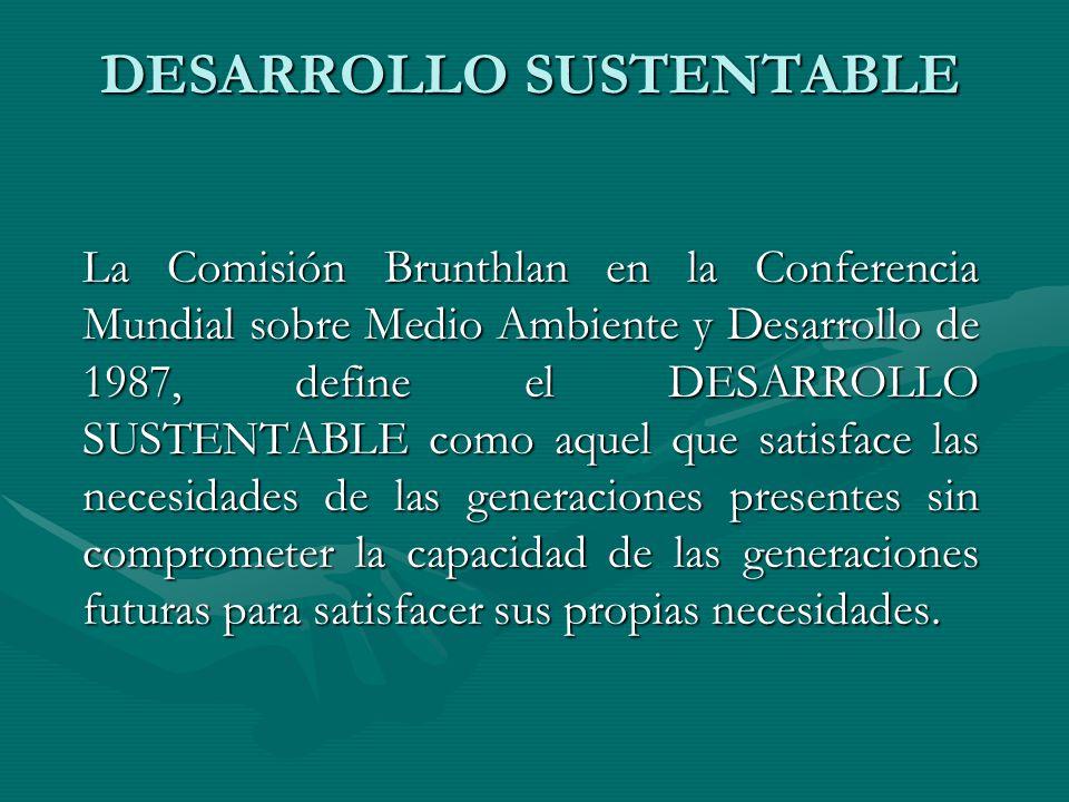 DESARROLLO SUSTENTABLE La Comisión Brunthlan en la Conferencia Mundial sobre Medio Ambiente y Desarrollo de 1987, define el DESARROLLO SUSTENTABLE com