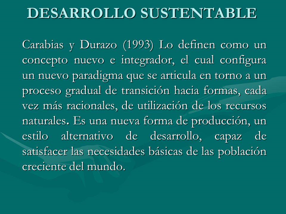 DESARROLLO SUSTENTABLE Carabias y Durazo (1993) Lo definen como un concepto nuevo e integrador, el cual configura un nuevo paradigma que se articula e