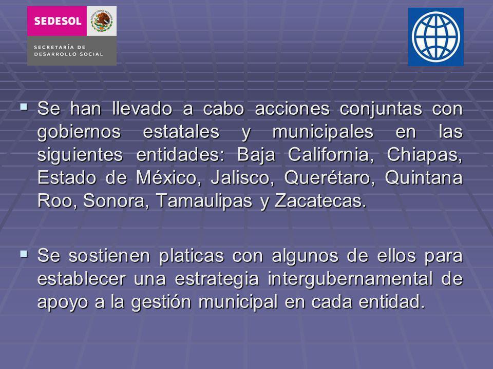 Se han llevado a cabo acciones conjuntas con gobiernos estatales y municipales en las siguientes entidades: Baja California, Chiapas, Estado de México, Jalisco, Querétaro, Quintana Roo, Sonora, Tamaulipas y Zacatecas.