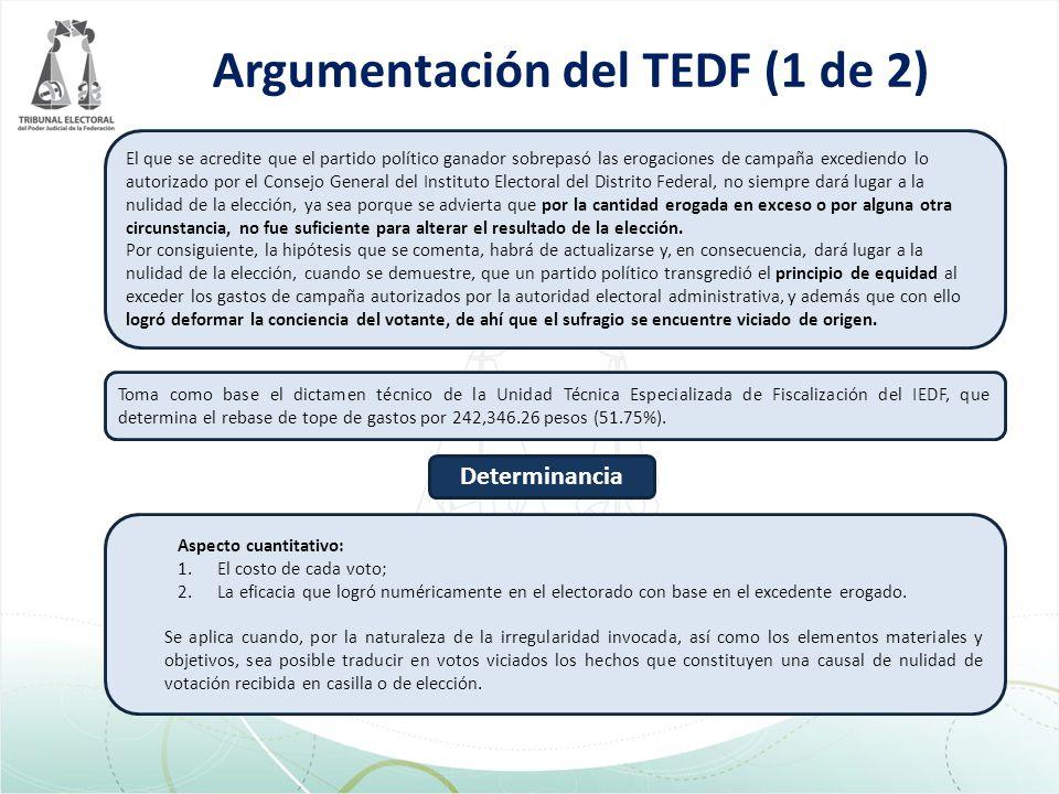 Argumentación del TEDF (1 de 2) Toma como base el dictamen técnico de la Unidad Técnica Especializada de Fiscalización del IEDF, que determina el rebase de tope de gastos por 242,346.26 pesos (51.75%).