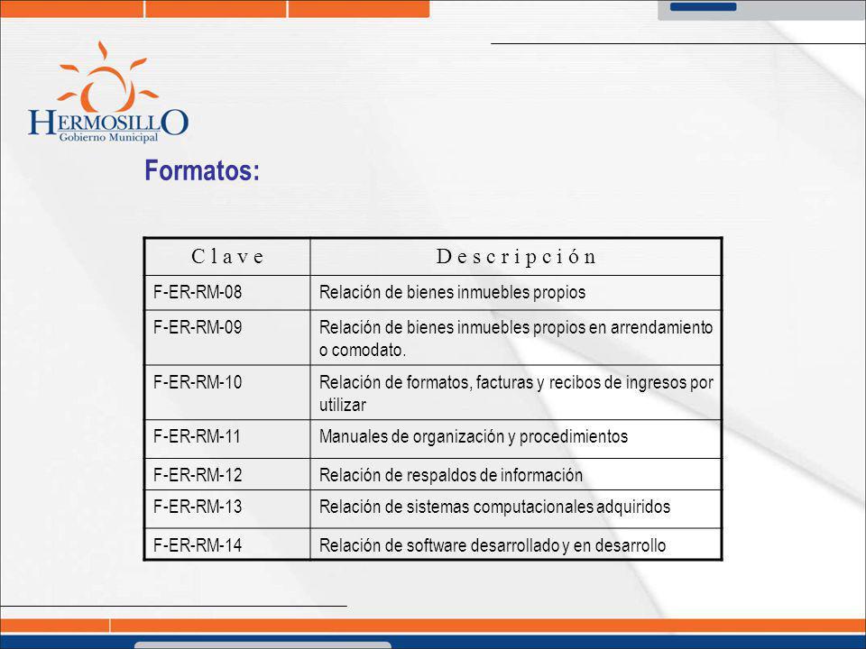 Formatos: C l a v eD e s c r i p c i ó n F-ER-RM-08Relación de bienes inmuebles propios F-ER-RM-09Relación de bienes inmuebles propios en arrendamient