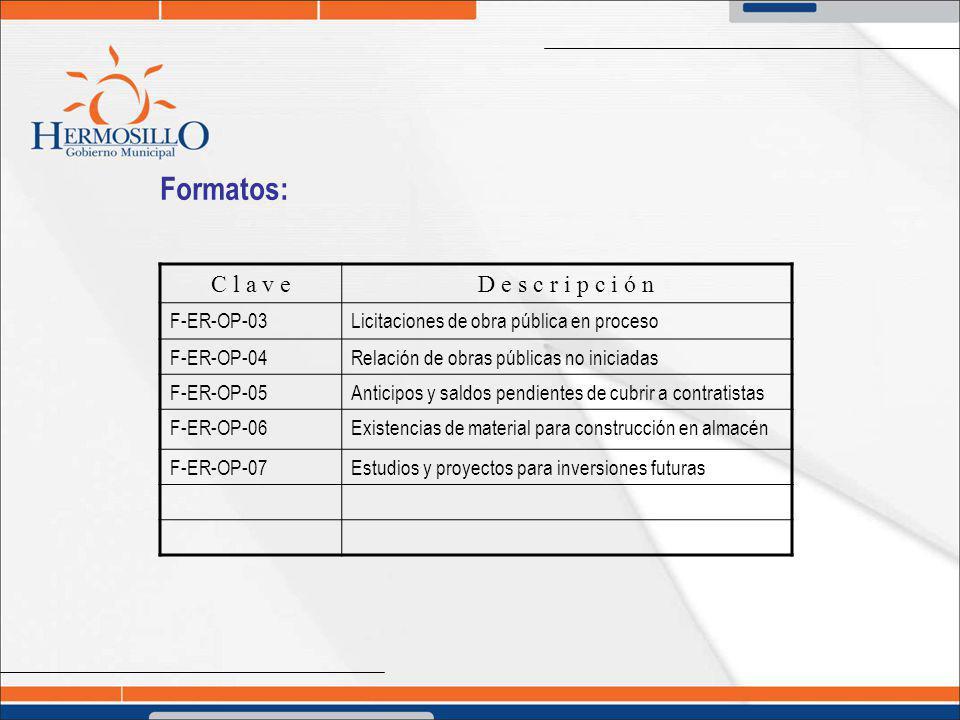 Formatos: C l a v eD e s c r i p c i ó n F-ER-OP-03Licitaciones de obra pública en proceso F-ER-OP-04Relación de obras públicas no iniciadas F-ER-OP-0