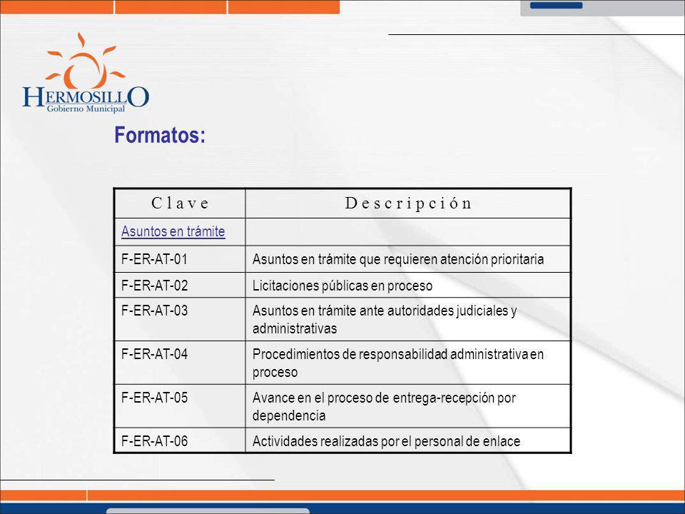 Formatos: C l a v eD e s c r i p c i ó n Asuntos en trámite F-ER-AT-01Asuntos en trámite que requieren atención prioritaria F-ER-AT-02Licitaciones púb