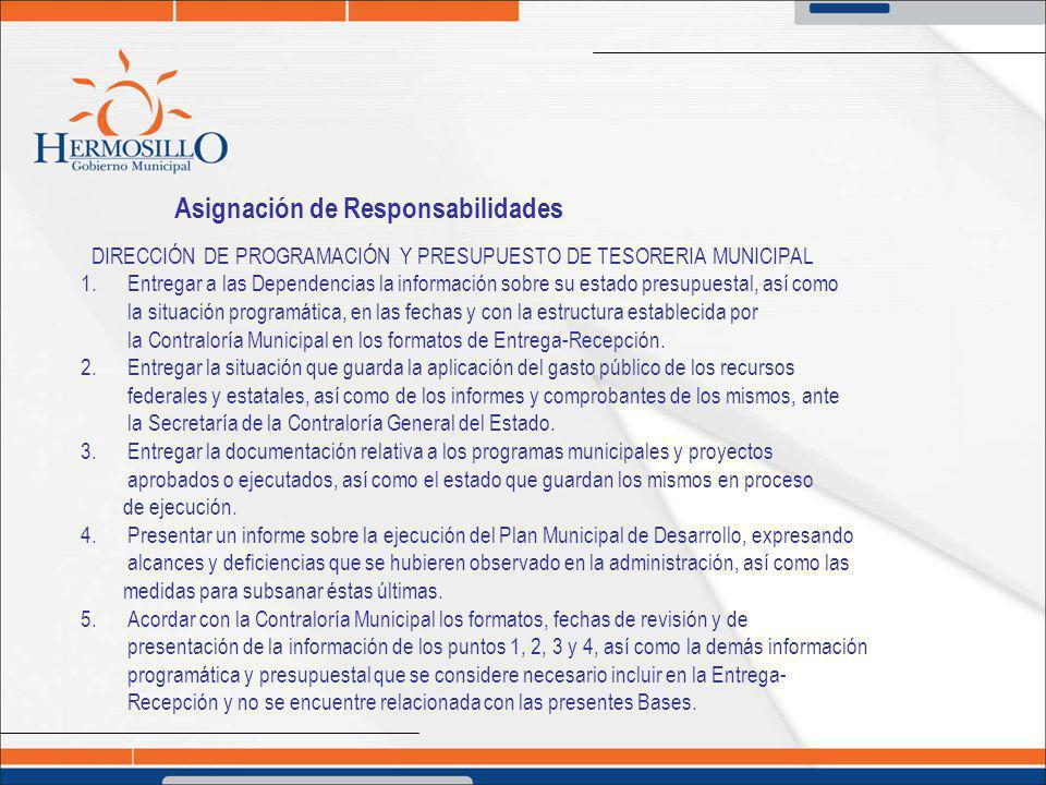 Asignación de Responsabilidades DIRECCIÓN DE PROGRAMACIÓN Y PRESUPUESTO DE TESORERIA MUNICIPAL 1. Entregar a las Dependencias la información sobre su