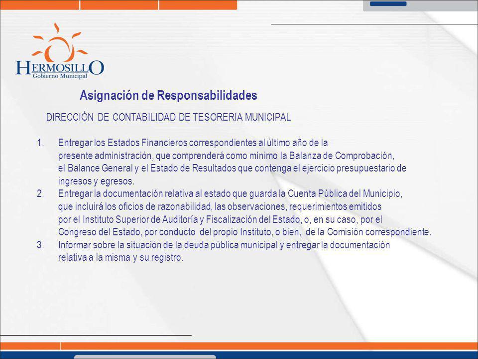 Asignación de Responsabilidades DIRECCIÓN DE CONTABILIDAD DE TESORERIA MUNICIPAL 1. Entregar los Estados Financieros correspondientes al último año de
