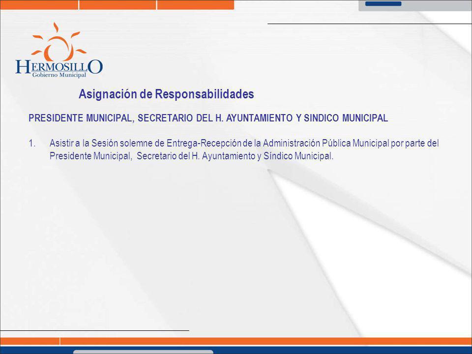 Asignación de Responsabilidades PRESIDENTE MUNICIPAL, SECRETARIO DEL H. AYUNTAMIENTO Y SINDICO MUNICIPAL 1. Asistir a la Sesión solemne de Entrega-Rec