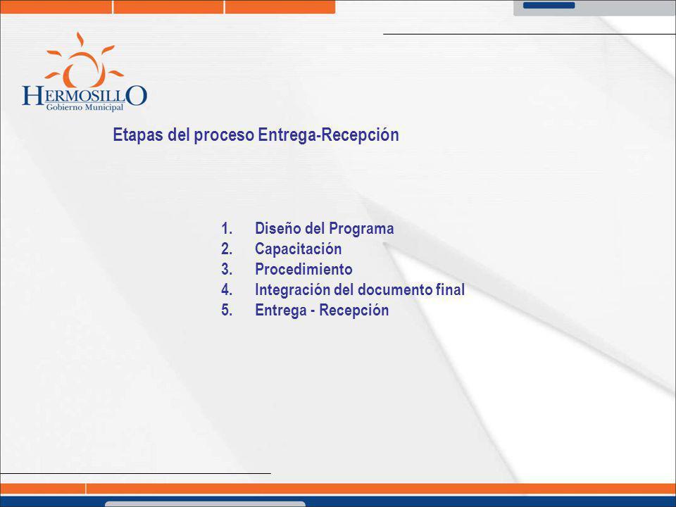 Etapas del proceso Entrega-Recepción 1.Diseño del Programa 2.Capacitación 3.Procedimiento 4.Integración del documento final 5.Entrega - Recepción
