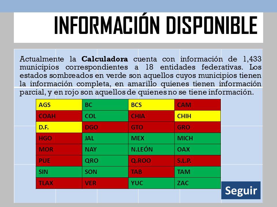 Actualmente la Calculadora cuenta con información de 1,433 municipios correspondientes a 18 entidades federativas. Los estados sombreados en verde son