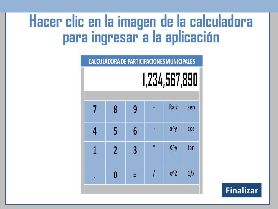 Hacer clic en la imagen de la calculadora para ingresar a la aplicación Finalizar