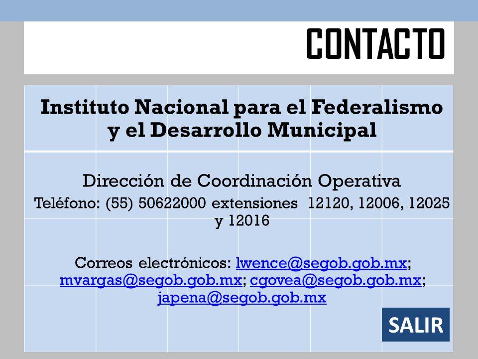 Instituto Nacional para el Federalismo y el Desarrollo Municipal Dirección de Coordinación Operativa Teléfono: (55) 50622000 extensiones 12120, 12006,
