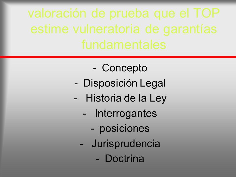valoración de prueba que el TOP estime vulneratoria de garantías fundamentales -Concepto -Disposición Legal - Historia de la Ley - Interrogantes -posi