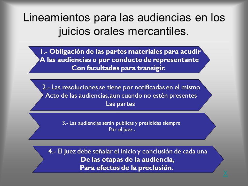 Lineamientos para las audiencias en los juicios orales mercantiles. 1.- Obligación de las partes materiales para acudir A las audiencias o por conduct