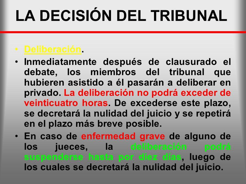 LA DECISIÓN DEL TRIBUNAL Deliberación. Inmediatamente después de clausurado el debate, los miembros del tribunal que hubieren asistido a él pasarán a